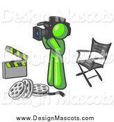 Illustration of a Lime Green Man Director Filming a Movie Scene with a Video Camera in a Studio by Leo Blanchette