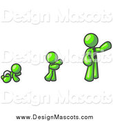 Illustration of a Lime Green Man in Stages of Life, As a Baby, Child and Adult by Leo Blanchette