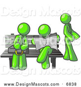 Illustration of a Lime Green Men at a Bus Stop Bench by Leo Blanchette
