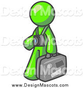 Illustration of a Lime Green Tourist Man Carrying His Suitcase and Walking with a Camera Around His Neck by Leo Blanchette