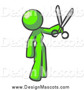 Illustration of a Lime Green Woman with Pair of Scissors by Leo Blanchette