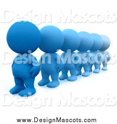 Illustration of a Line of 3d Blue People by Andresr