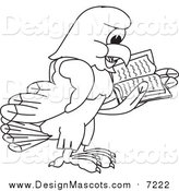 Illustration of a Lineart Bald Eagle Hawk or Falcon Reading by Toons4Biz
