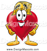 Illustration of a Love Heart Mascot Wearing a Helmet by Toons4Biz