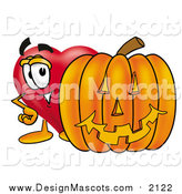 Illustration of a Love Heart Mascot with a Halloween Pumpkin by Toons4Biz