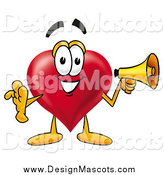 Illustration of a Love Mascot Holding a Megaphone by Toons4Biz