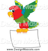 Illustration of a Macaw Parrot Mascot Flying a Blank Sign by Toons4Biz