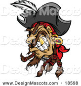 Illustration of a Mad Pirate Mascot with a Gold Tooth by Chromaco