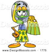 Illustration of a Magnifying Glass Mascot in Green and Yellow Snorkel Gear by Toons4Biz