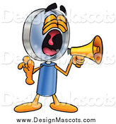 Illustration of a Magnifying Glass Mascot Screaming into a Megaphone by Toons4Biz