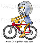 Illustration of a Magnifying Glass Mascot Smiling and Riding a Bicycle by Toons4Biz