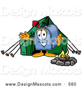 December 15th, 2015: Illustration of a Mailbox Mascot Camping with a Tent and Fire by Toons4Biz