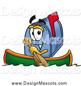 Illustration of a Mailbox Mascot Rowing a Boat by Toons4Biz