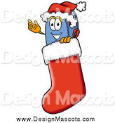 Illustration of a Mailbox Mascot Wearing a Santa Hat Inside a Red Christmas Stocking by Toons4Biz