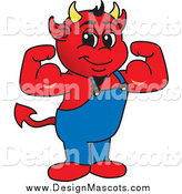 Illustration of a Mascot Devil Flexing by Toons4Biz