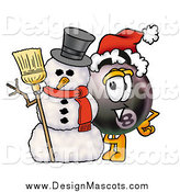 Illustration of a Mascot Eight Ball with a Snowman on Christmas by Toons4Biz
