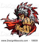 Illustration of a Masculine Strong Chief Native American Indian Mascot Flexing His Bicep by Chromaco