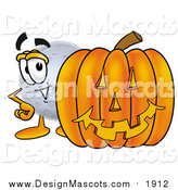 Illustration of a Moon Mascot with a Halloween Pumpkin by Toons4Biz