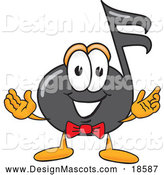 Illustration of a Music Note Mascot Cartoon with Welcoming Open Arms by Toons4Biz