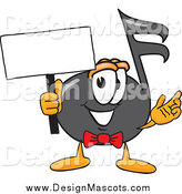 November 10th, 2014: Illustration of a Music Note Mascot Holding a Blank Sign by Toons4Biz