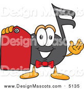 Illustration of a Music Note Mascot Holding a Red Sales Price Tag by Toons4Biz