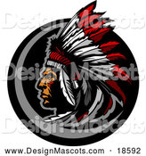 Illustration of a Native American Chief Mascot with a Feather Headdress by Chromaco