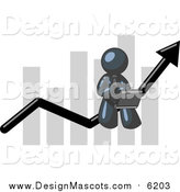 Illustration of a Navy Blue Businessman Using a Latpop on a Bar Graph by Leo Blanchette