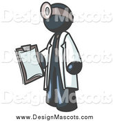 Illustration of a Navy Blue Male Doctor Holding a Clipboard by Leo Blanchette
