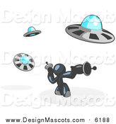 Illustration of a Navy Blue Man Fighting UFO's with Weapons by Leo Blanchette