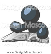 February 12nd, 2014: Illustration of a Navy Blue Man Mascot Seated and Reading the Daily Newspaper by Leo Blanchette