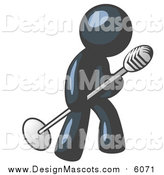 Illustration of a Navy Blue Man Singing Songs on Stage During a Concert or at a Karaoke Bar While Tipping the Microphone by Leo Blanchette