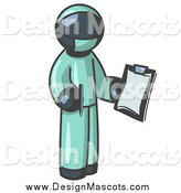 February 10th, 2014: Illustration of a Navy Blue Surgeon Holding a Pen and Clipboard by Leo Blanchette