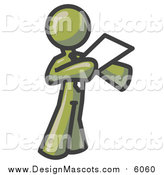 Illustration of a Olive Green Business Man Holding a Piece of Paper During a Speech or Presentation by Leo Blanchette