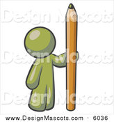 Illustration of a Olive Green Man Holding a Giant Pencil by Leo Blanchette