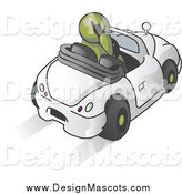 Illustration of a Olive Green Man Talking on a Cell Phone and Driving by Leo Blanchette