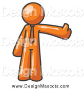 November 8th, 2014: Illustration of a Orange Business Man Holding a Thumb up by Leo Blanchette