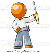 November 11th, 2014: Illustration of a Orange Man Electrician Holding up a Screwdriver by Leo Blanchette