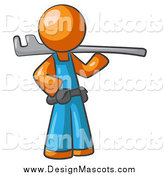 Illustration of a Orange Man Plumber Carrying a Tool by Leo Blanchette