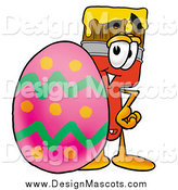 Illustration of a Paint Brush Mascot and a Giant Easter Egg by Toons4Biz