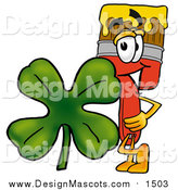 Illustration of a Paint Brush Mascot and a St Patricks Day Clover by Toons4Biz