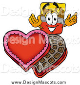 Illustration of a Paint Brush Mascot and Valentine Candy by Toons4Biz