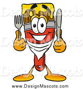 Illustration of a Paint Brush Mascot Holding Cutlery by Toons4Biz