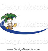 Illustration of a Palm Tree Mascot and Blue Swoosh by Toons4Biz