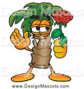 Illustration of a Palm Tree Mascot Holding a Red Rose on Valentines Day by Toons4Biz