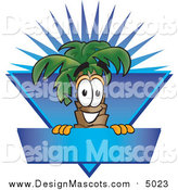 December 9th, 2015: Illustration of a Palm Tree Mascot over a Blank Blue Business Label with a Burst by Toons4Biz