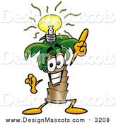 Illustration of a Palm Tree Mascot with a Bright Idea by Toons4Biz