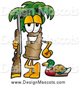 Illustration of a Palm Tree Mascot with Duck Hunting Gear by Toons4Biz