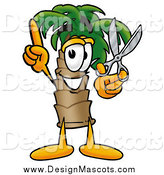 Illustration of a Palm Tree Mascot with Scissors by Toons4Biz