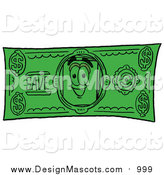 Illustration of a Paper Mascot on a Dollar Bill by Toons4Biz