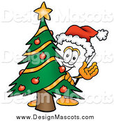 Illustration of a Paper Mascot Waving by Christmas Tree by Toons4Biz